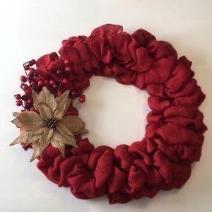 Red Burlap Wreath